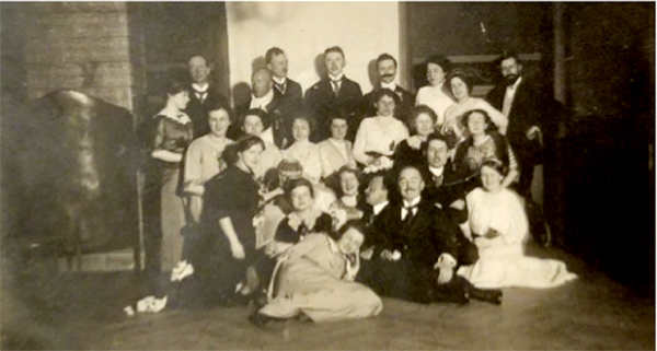 Vera and Bert Joho during the early 1900s (last row, first and third from left).